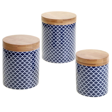 Certified International Chelsea Indigo Quatrefoil 3-piece Canister Set with Lids
