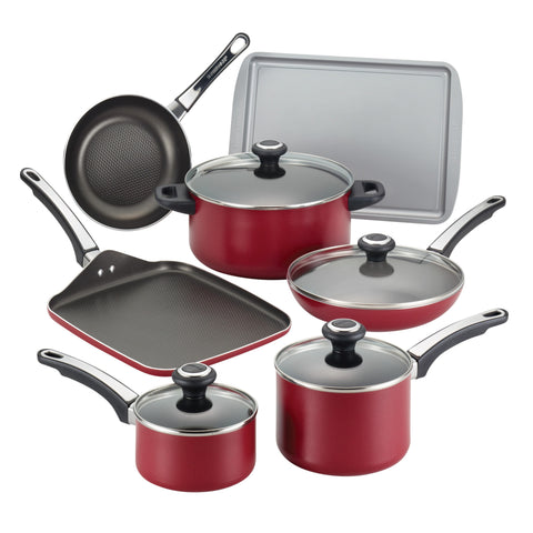Farberware High Performance Nonstick Aluminum 17-piece Red Cookware Set