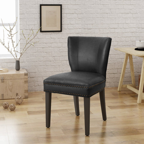 Jackie Contemporary Dining Chair with Nailhead Accents by Christopher Knight Home