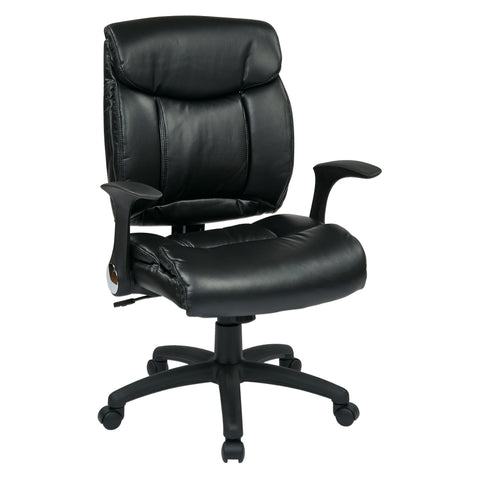 Black Faux Leather Office Chair with Built-in Lumber Support