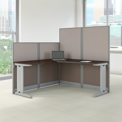 Bush Business Furniture Office in an Hour 65W x 65D L Shaped Cubicle Workstation in Mocha Cherry