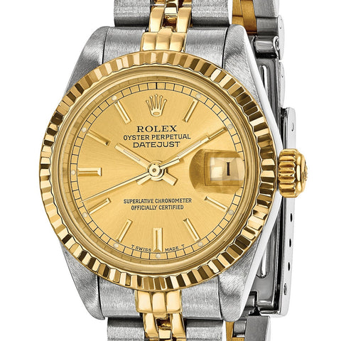 (Refurbished) Quality Pre-Owned Rolex Women's Steel and 18 Karat Yellow Gold Champagne Dial Watch