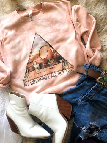 All Who Wander Are Not Lost pink sweatshirt