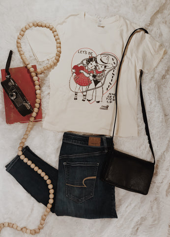 Let's Be Valentines and Get Tied Up Tee