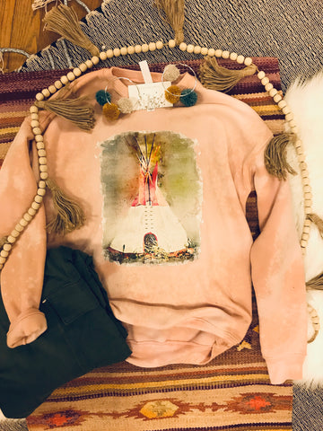 Watercolor Teepee Bleach Sweatshirt