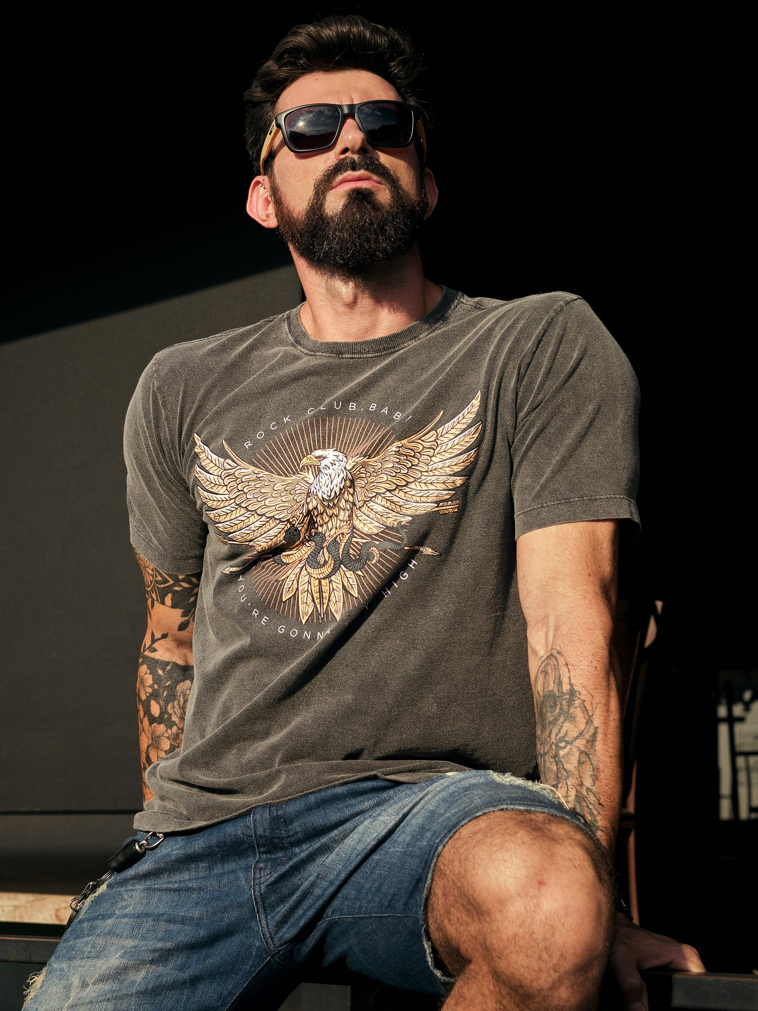 Camiseta masculina estonada Flying High - ROCK CLUB, BABY