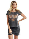rock club baby - Camiseta feminina Flying High - águia