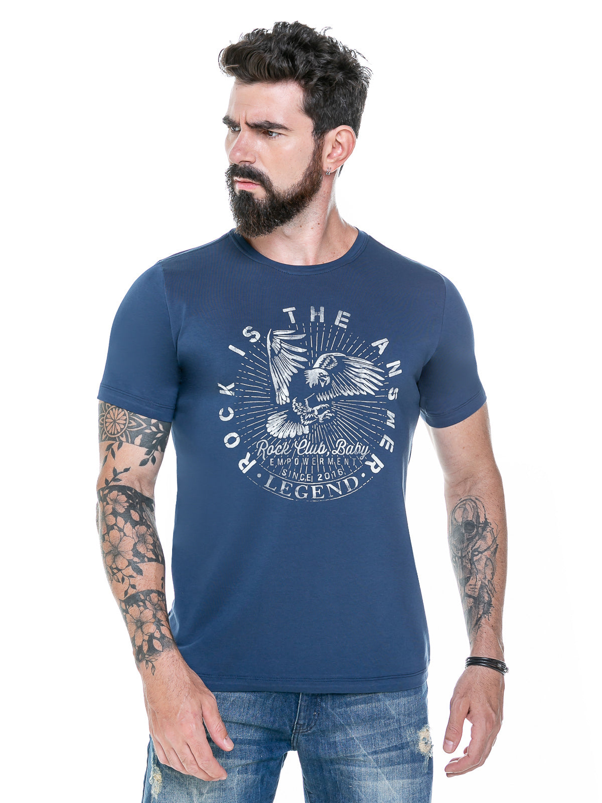Camiseta masculina Rock is the Answer - Blue