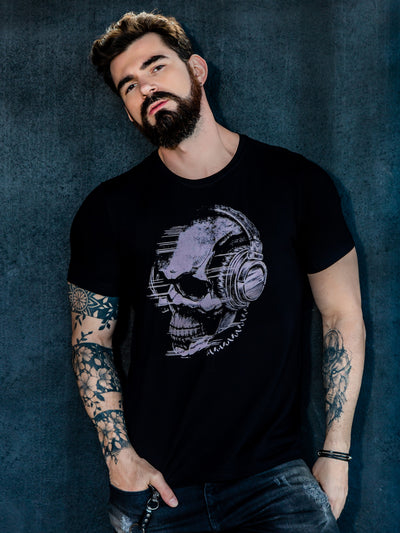 Camiseta masculina Headphone Skull