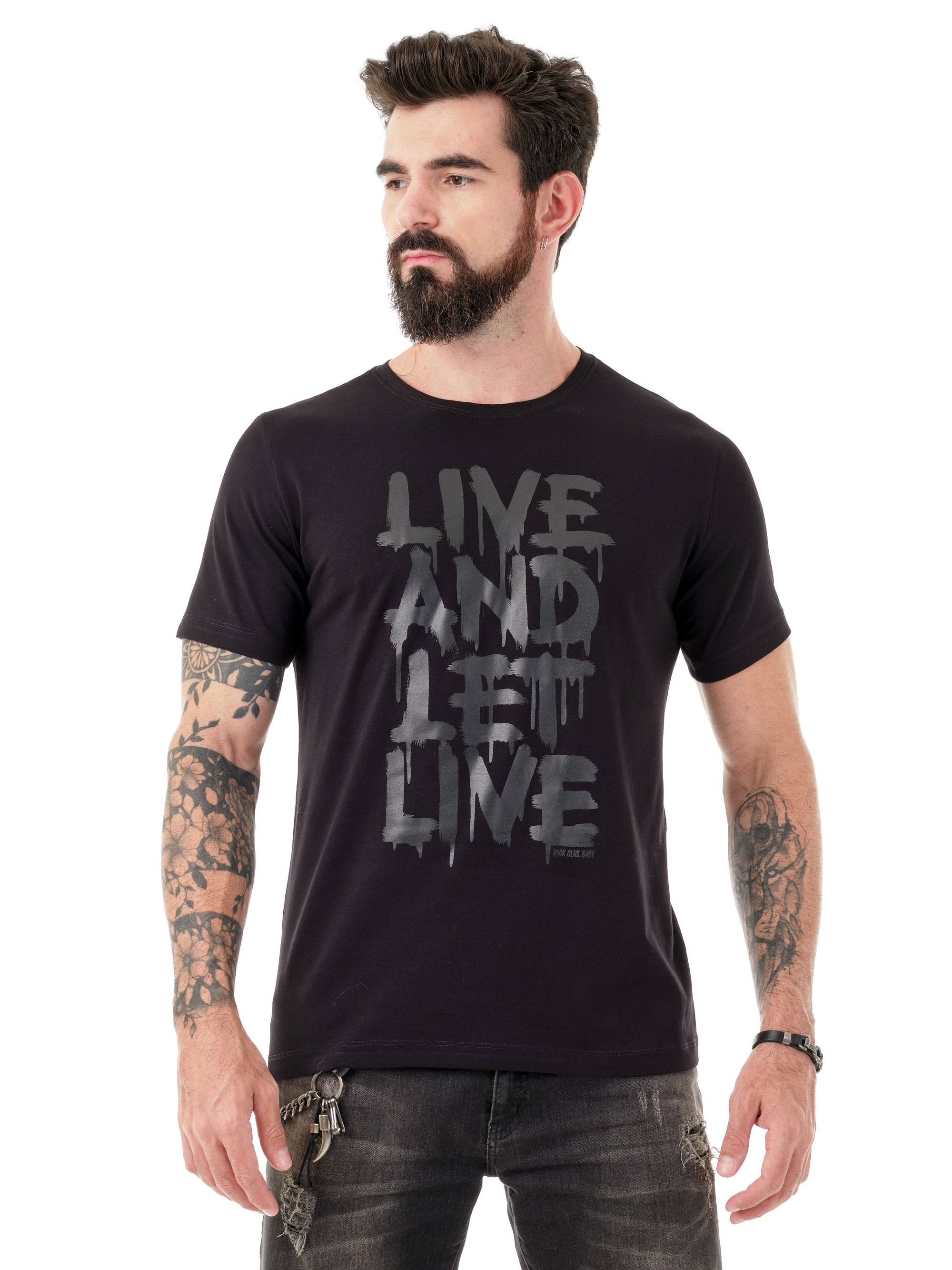 Camiseta masculina Live and Let Live