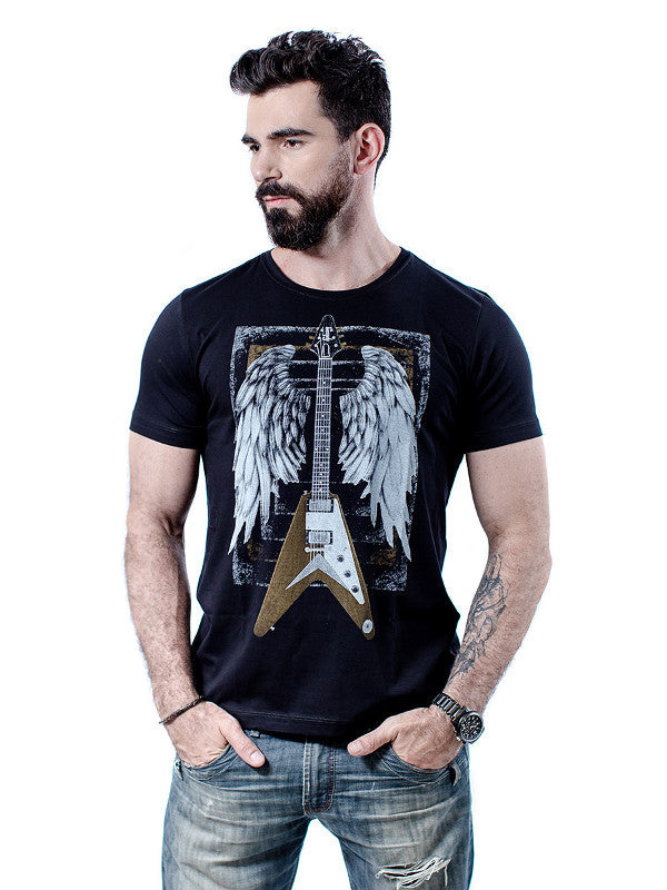 rock club baby - Camiseta masculina Flying V - gibson flying V