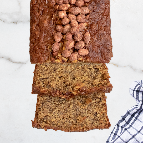 Gluten-Free Buttermilk Banana Bread with Cinnamon Spice Peanuts