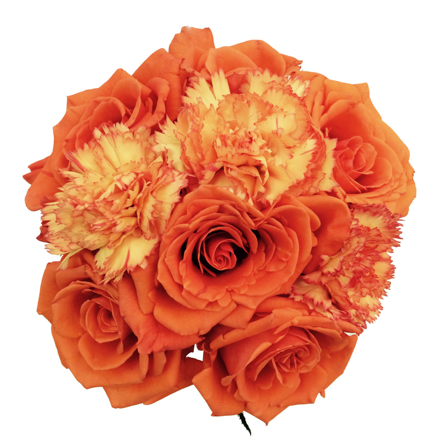 Orange flower bouquet composed by orange roses and orange bicolor carnations