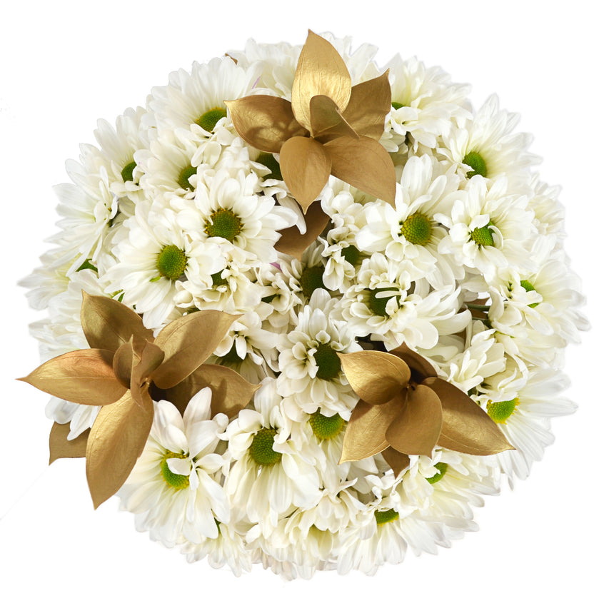 White daisies bouquet with gold tinted ruscus