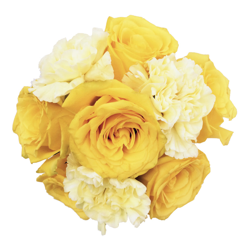 Yellow flowers bouquet composed by yellow roses and yellow carnations