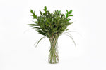 Assorted greenery in their vase. 48 Fresh greenery flower additions