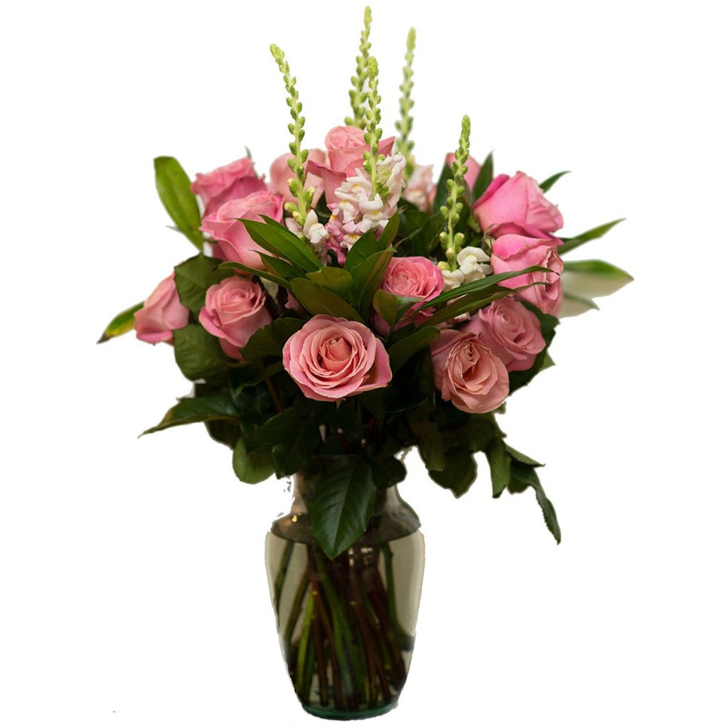 Big Bunch with Vase  - 30 Stem Pink Roses Bouquet