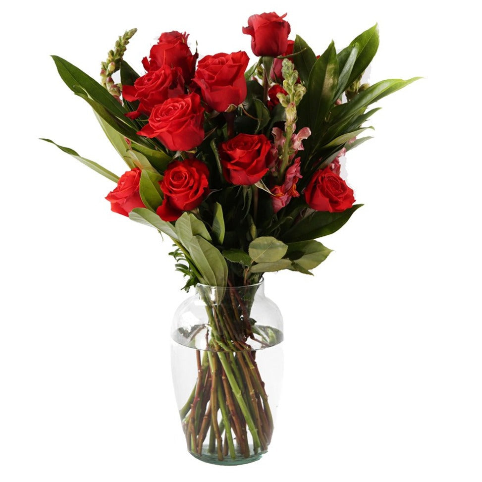 Big Bunch with Vase  - 30 Stem Red Roses Bouquet