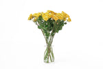 Yellow spray roses in their vase. Yellow spray roses express sunny feelings of joy, exuberance and warmth.