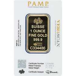1oz 24kt .9999 Gold Bar - Pamp
