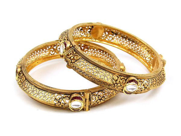 62.82g 22Kt Gold Antique Bangle Set - 1178