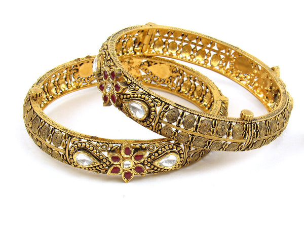 64.59g 22Kt Gold Antique Bangle Set - 1187