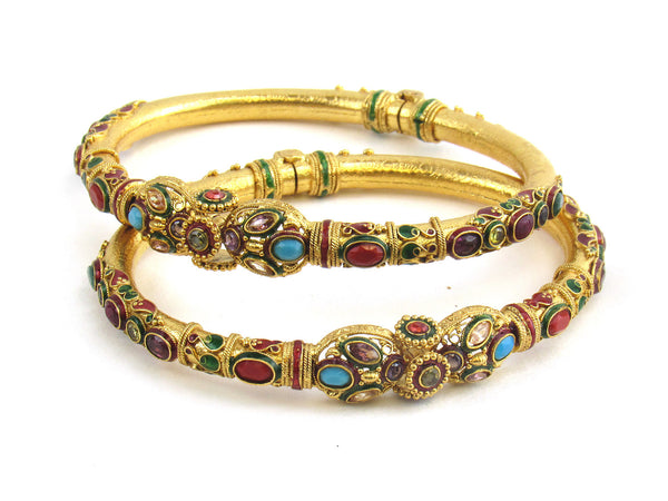 52.02g 22Kt Gold Antique Bangle Set - 177