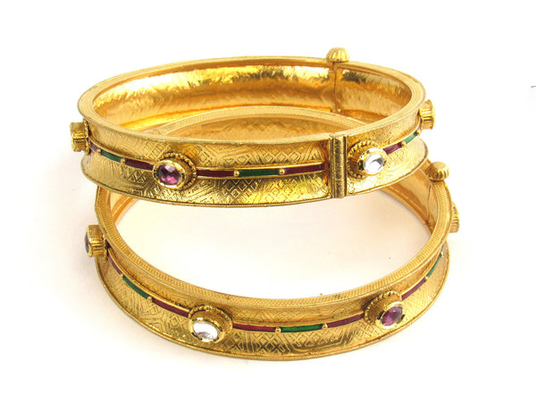 51.80g 22Kt Gold Antique Bangle Set - 184