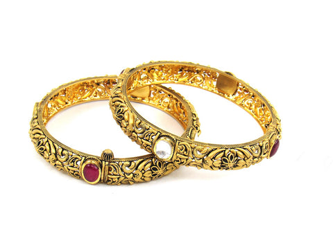 49.40g 22Kt Gold Antique Bangle Set India Jewellery