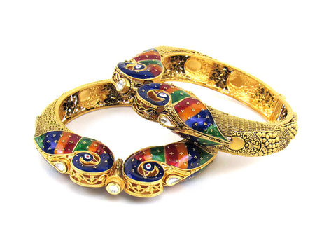 103.12g 22Kt Gold Antique Bangle Set India Jewellery