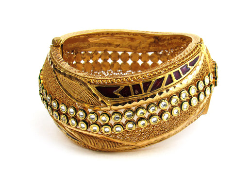 116.80g 22Kt Gold Antique Bangle Set India Jewellery