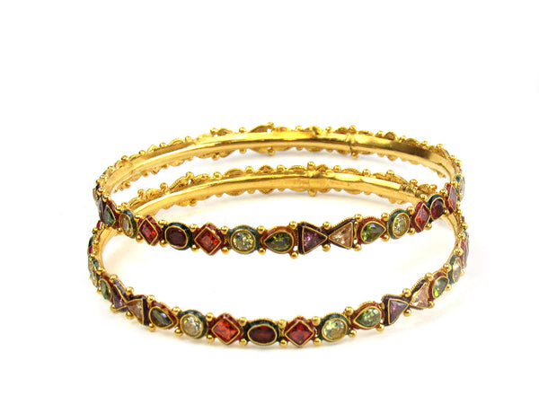26.80g 22Kt Gold Antique Bangle Set - 210