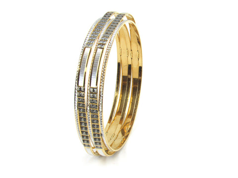 48.25g 22kt Gold Lazer Bangle Set (Sz: 9) India Jewellery