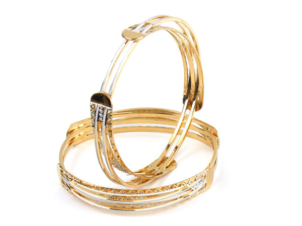 54.00g 22kt Gold Lazer Bangle Set (Sz: 5) - 152