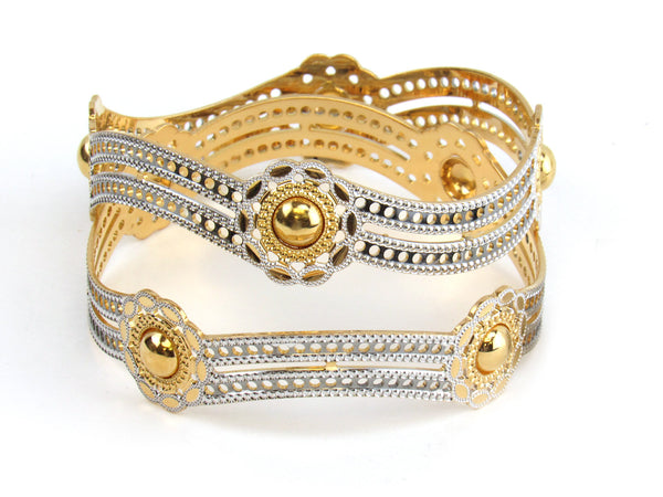53.00g 22kt Gold Lazer Bangle Set (Sz: 6) - 154