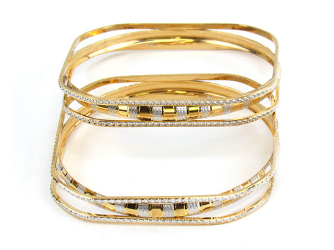 44.70g 22kt Gold Lazer Bangle Set (Sz: 4) India Jewellery