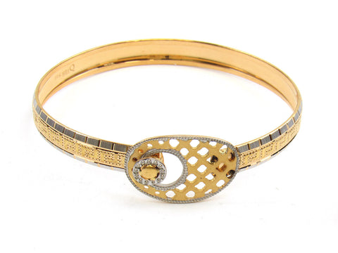 22.73g 22Kt Gold Lazer Bangle Set (Sz: 4) India Jewellery