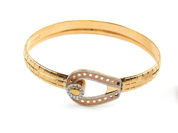 21.66g 22Kt Gold Lazer Bangle Set (Sz: 4) - 168