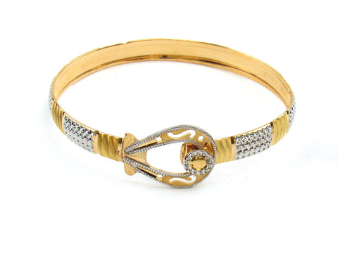 21.93g 22Kt Gold Lazer Bangle Set (Sz: 4) India Jewellery