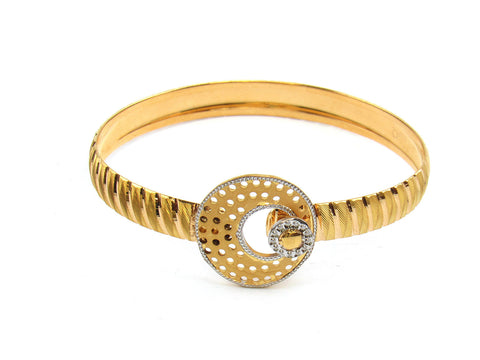 21.77g 22Kt Gold Lazer Bangle Set (Sz: 4) India Jewellery