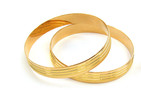 54.00g 22Kt Gold Lazer Bangle Set (Sz: 3) India Jewellery