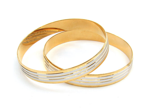 53.10g 22Kt Gold Lazer Bangle Set (Sz: 6) India Jewellery
