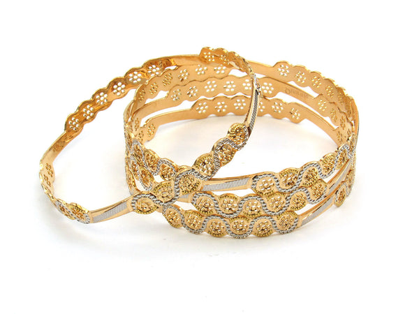 68.51g 22Kt Gold Lazer Bangle Set (Sz: 8) - 180