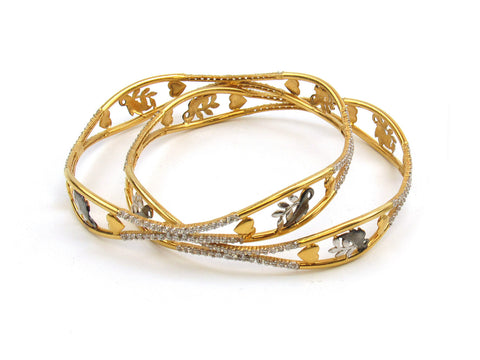 31.56g 22Kt Gold Lazer Bangle Set (Sz: 8) India Jewellery