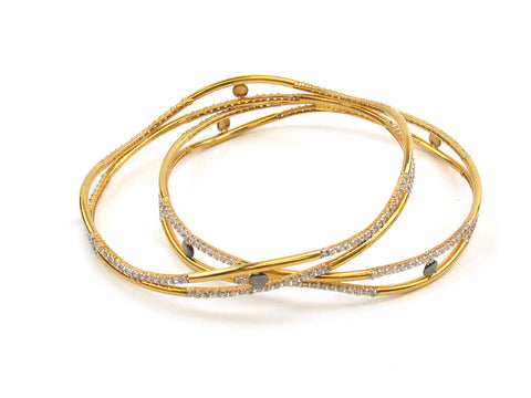 25.90g 22Kt Gold Lazer Bangle Set (Sz: 8) India Jewellery