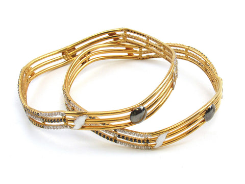 43.58g 22Kt Gold Lazer Bangle Set (Sz: 10) India Jewellery