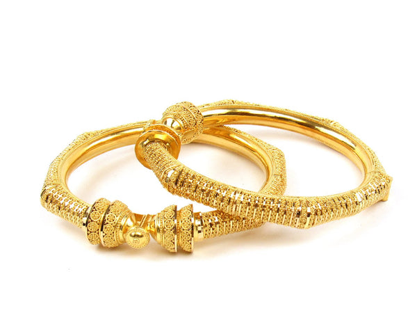 58.25g 22Kt Gold Pipe Bangle Set (Sz: 4) - 1231
