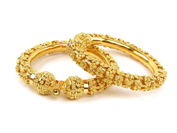 75.05g 22Kt Gold Pipe Bangle Set (Sz: 4) - 1233