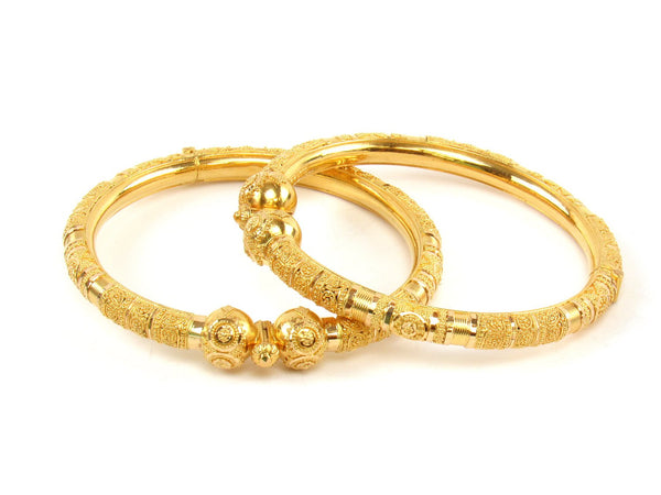 51.20g 22Kt Gold Pipe Bangle Set (Sz: 5) - 1404