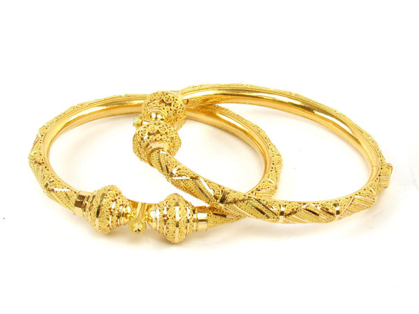 45.70g 22Kt Gold Pipe Bangle Set (Sz: 5) - 1405